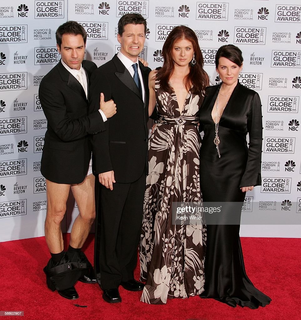 The cast of 'Will & Grace' (L-R) actors Eric McCormack, Sean Hayes, Debra MEssing and Meghan Mullally pose backstage during 63rd Annual Golden Globe Awards at the Beverly Hilton on January 16, 2006 in Beverly Hills, California.