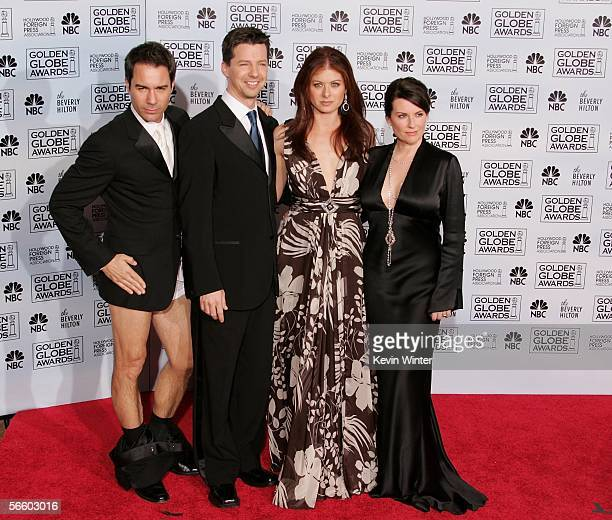 The cast of 'Will Grace' actors Eric McCormack Sean Hayes Debra MEssing and Meghan Mullally pose backstage during 63rd Annual Golden Globe Awards at...