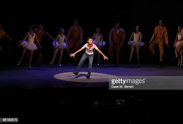 The cast perform on stage during the fifth birthday anniversary of 'Billy Elliot The Musical' at the Victoria Palace Theatre on March 31 2010 in...