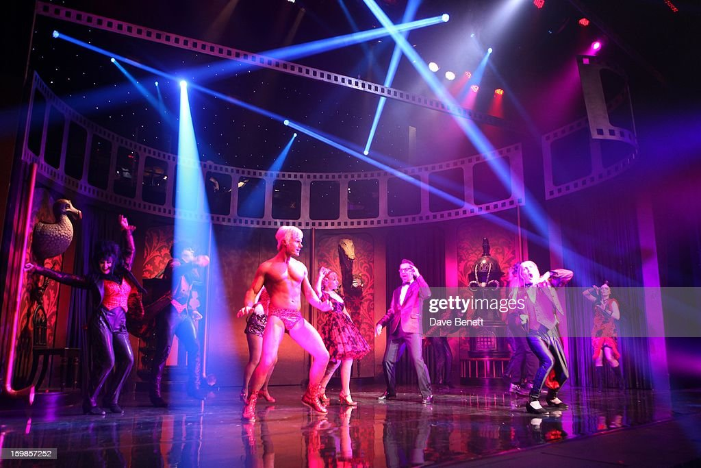 The cast performs on stage during a production of Richard O'Brien's Rocky Horror Show at the New Wimbledon Theatre on January 21st, 2013 in London, United Kingdom.
