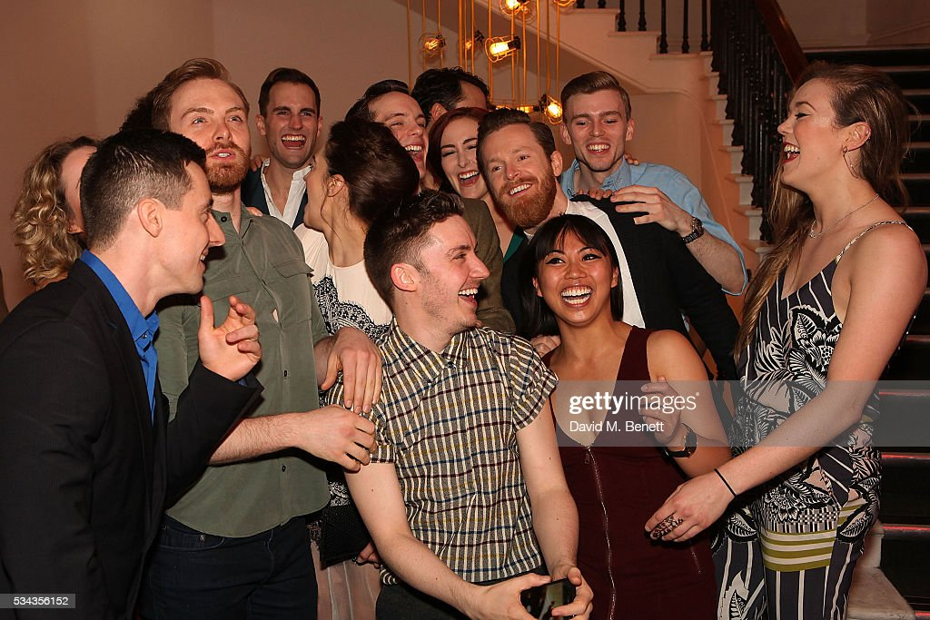 The Cast pose for photos during the press night after party for 'Jekyll Hyde' at The Old Vic Theatre on May 25 2016 in London England