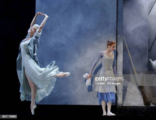 The cast rehearsing on stage including Svetlana Zakharova as Cinderella during a photocall for The Bolshoi Ballet company's Cinderella at The Royal...