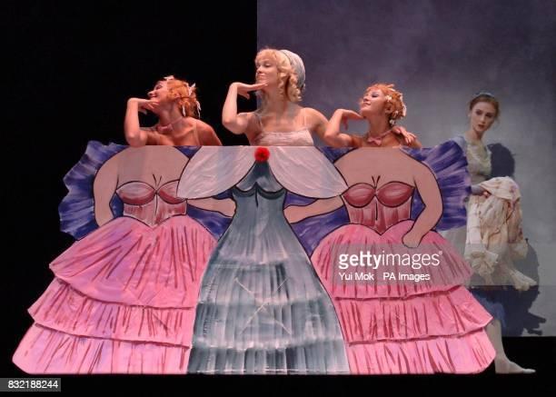 The cast rehearsing on stage ncluding Svetlana Zakharova as Cinderella Anastasia Vinokur and Lolo Kochetkova as her Stepsisters and Maria Volodina as...