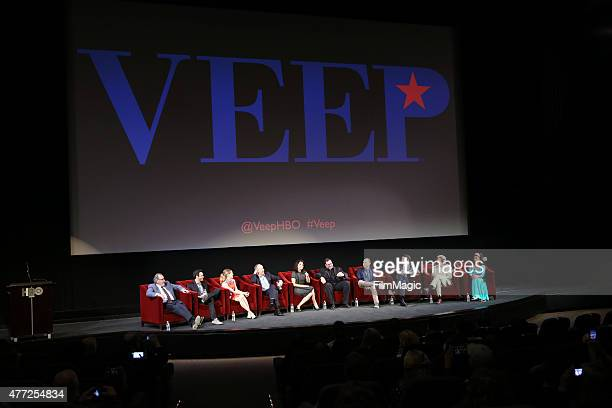 The cast speaks onstage at HBO's 'Veep' FYC Panel at Paramount Theater on the Paramount Studios lot on June 10 2015 in Hollywood California
