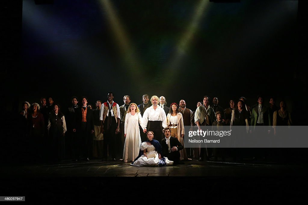 The cast take a bow at curtain call during the opening night of Cameron Mackintosh's new production of Boublil and Schonberg's 'Les Miserables' on Broadway at The Imperial Theatre on March 23, 2014 in New York City.