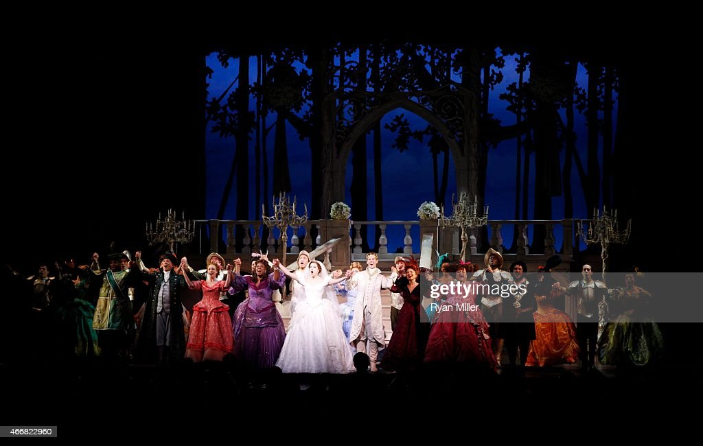 The cast take their bows during the curtain call for the opening night performance of 'Rodgers Hammerstein's Cinderella' at Center Theatre...