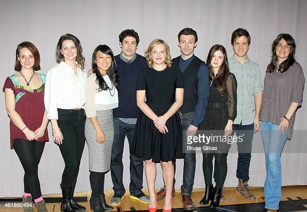 The cast Tracee Chimo Leighton Brown Ali Ahn Jason Biggs Elisabeth Moss Bryce Pinkham Elise Kibler Andy Truschinski and Director Pam MacKinnon poses...