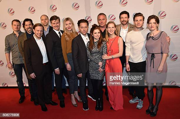 The cast with Genija Rykova Adrian Topol Josefine Preuss Alicia von Rittberg and Bernhard Schir during the 'Die Hebamme II' Munich Premiere at Gloria...