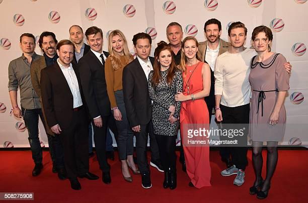 The cast with Genija Rykova Adrian Topol Josefine Preuss Alicia von Rittberg and Bernhard Schir during the 'Die Hebamme II' Munich Premiere at Gloria...