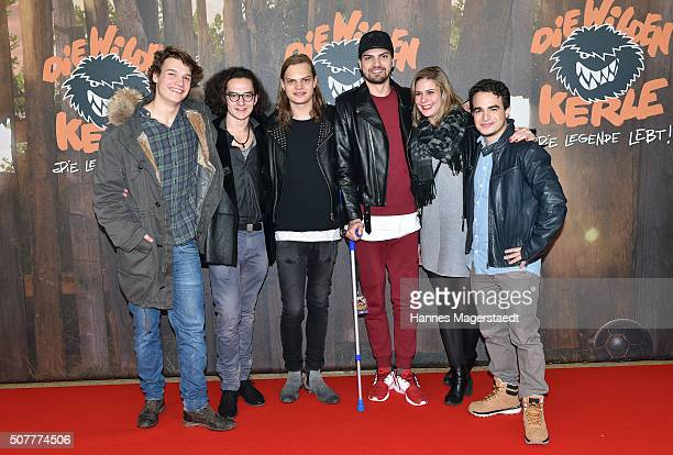 The cast with Wilson Gonzales Ochsenknecht and Jimi Blue Ochsenknecht during 'Die Wilden KerleDie Legende Lebt' Premiere at Mathaeser Filmpalast on...