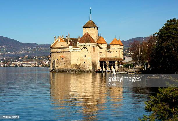 The castle of Chillon on the Lake Leman in Veytaux in the canton of Vaud in Switzerland