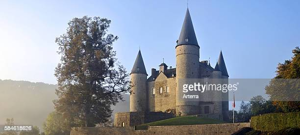 The Castle of Veves / Chateau de Veves in autumn mist Celles Belgium