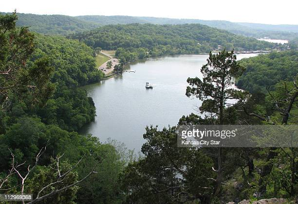 The castle trail at Ha Ha Tonka State Park leads to the castle ruins offering a scenic view of the Niangua arm of the Lake of the Ozarks