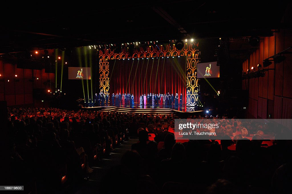 The casts of all the different 'Tatort' Tv Shows pose on stage at the Bambi Awards 2013 at Stage Theater on November 14, 2013 in Berlin, Germany.