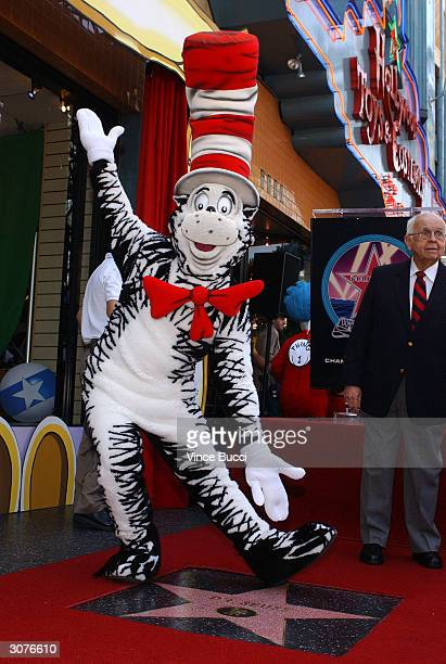 The Cat In The Hat poses at a ceremony honoring the late children's book author Dr Seuss with a star on the Hollywood Walk of Fame on March 11 2004...