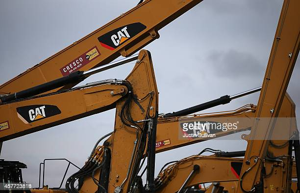 The CAT logo is displayed on Caterpillar construction equipment at Peterson Tractor on October 23 2014 in San Leandro California Caterpillar Inc...