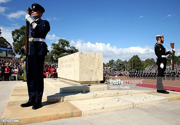 The catafalque party mount the Stone of Remembrance during the National Service at the Australian War Memorial on April 25 2015 in Canberra Australia...