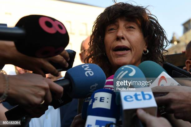 The Catalan politician Teresa Jordà from ERC party attends media during a protest in Madrid in support of independence referendum in Catalonia