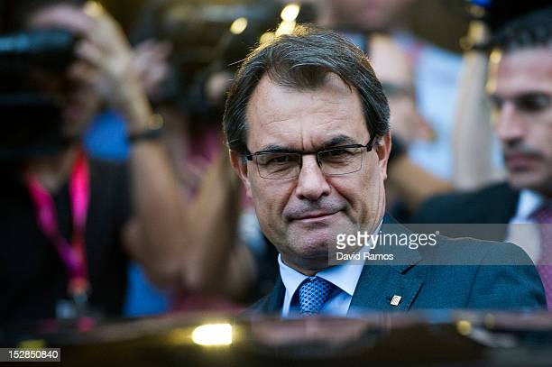 The Catalan President Artur Mas leaves the Catalan Parliament after passing the proposal for the right of the Catalan people to hold a referendum on...