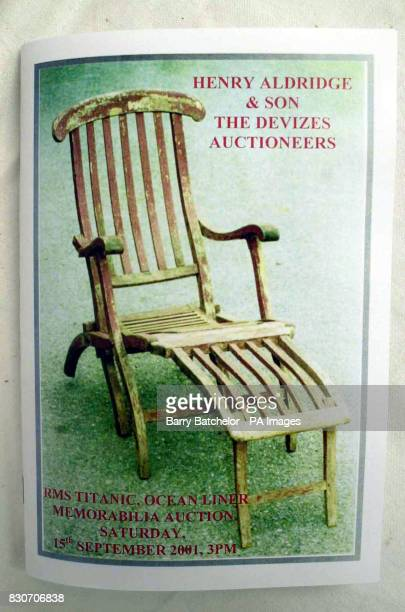 The catalogue showing on the front cover a deckchair that survived the sinking of the Titanic that was sold to memorabilia collector Chris Lowe from...