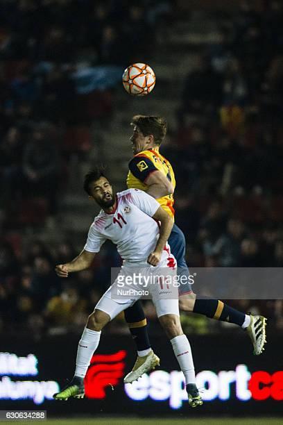 The Catalonia player Andreu Fontas of Celta de Vigo and The Tunisia player Khenisi Taha Yessine of Esperance Sportiveduring the friendly football...