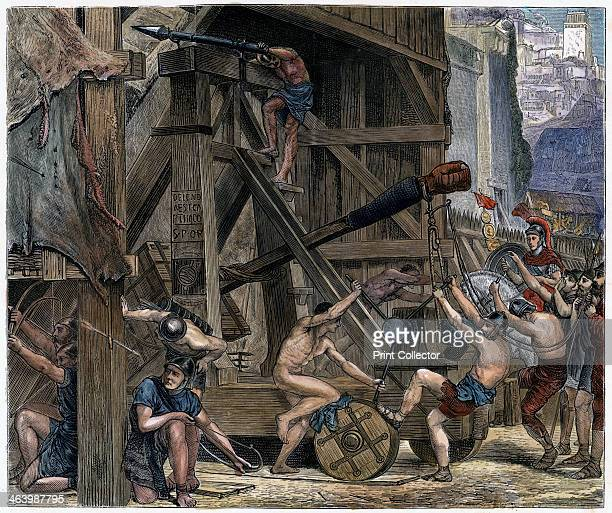 'The Catapult' c1868 A Roman siege engine attacks the city of Carthage during the siege of 146 BC Delenda est Carthago is carved into the wood...