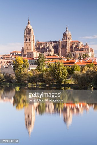 The cathedral in Salamanca across the Rio Tormes.