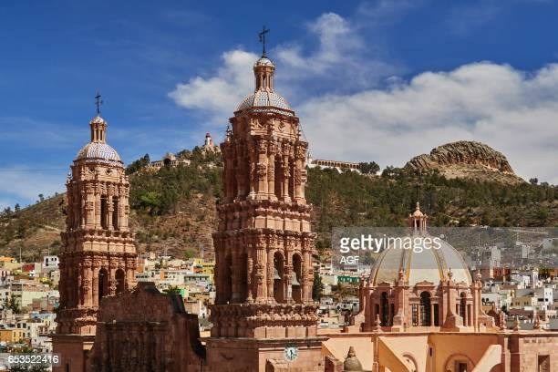 The Cathedral In Zacatecas City And View Over The Bufa Hill In Mexicounesco World Heritage City View Over The Cerro De La Bufa/Bufa Hill