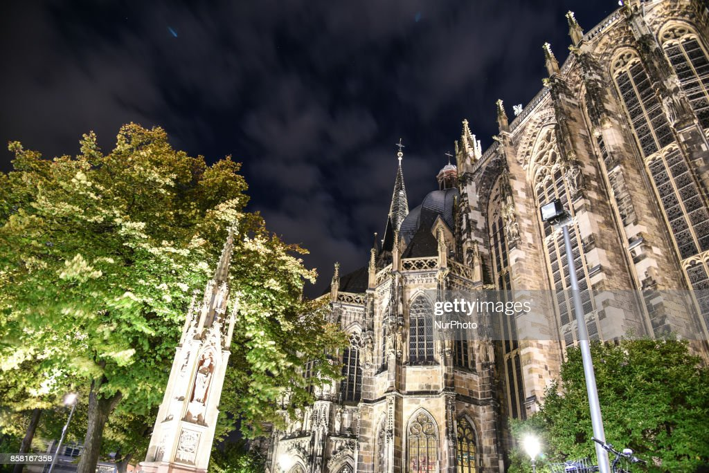 The cathedral of Aachen, the Dom, at night in Aachen, Germany, on October 5, 2017