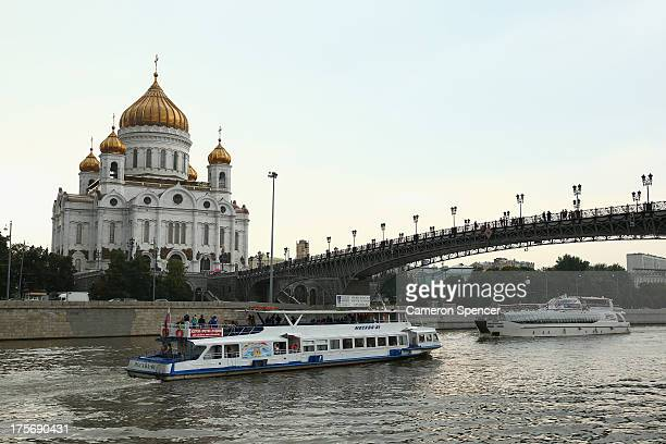 The Cathedral of Christ the Saviour is seen on the Moskva River ahead of the IAAF World Championships on August 6 2013 in Moscow Russia