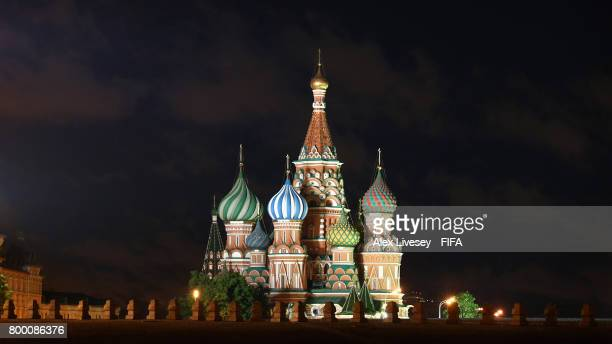 The Cathedral of Vasily the Blessed in the Red Square is seen at night during the FIFA Confederations Cup Russia 2017 on June 22 2017 in Moscow Russia