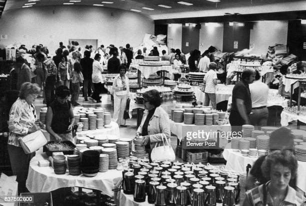 The Cathedral Room was a Popular Sale Area at New Albany Hotel Wednesday In that room silver ware china liner blankets and other utensils were sold...
