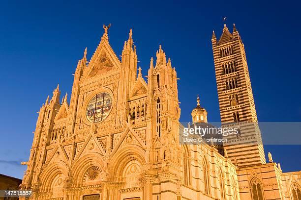 The cathedral, Siena, illuminated at night