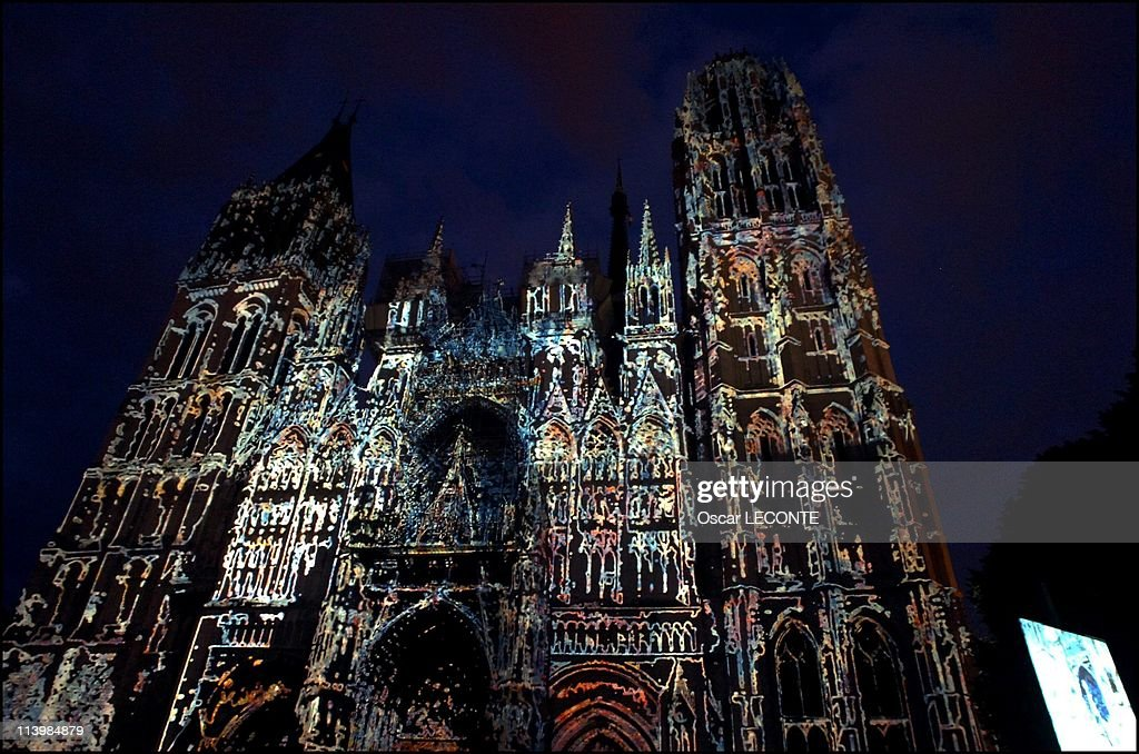 The Cathedrale de Rouen was lit in colors of Monet's works In Rouen, France On June 24, 2006.