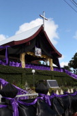 The Catholic church is drapped in black and purple material for the State Funeral held for King George Tupou V at Mala'ekula on March 27 2012 in...