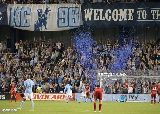 The Cauldron celebrates after Sporting Kansas City forward Gerso's goal in added time of the second half of an MLS match between FC Dallas and...