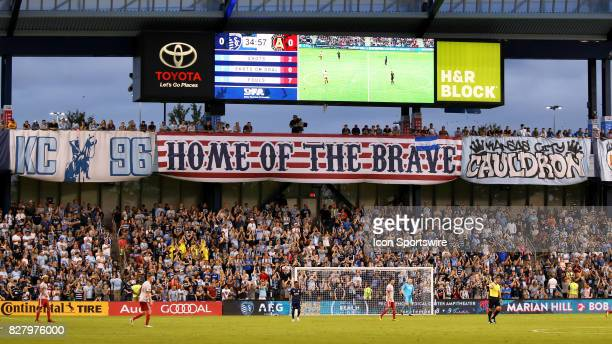 The Cauldron displays a new flag for Military Appreciation night during an MLS match between Atlanta United and Sporting KC on August 6th 2017 at...