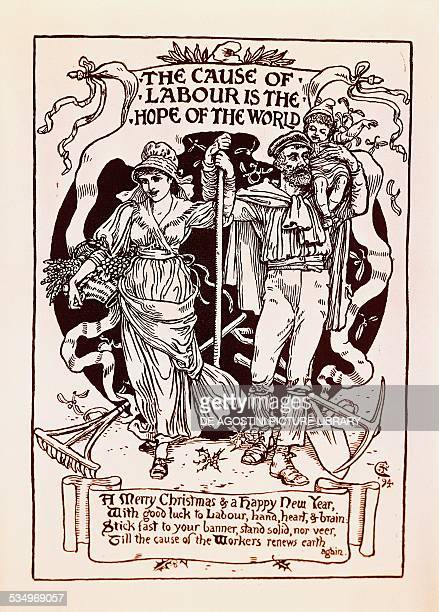 the cause of labour is the hope of the world christmas card by walter crane for