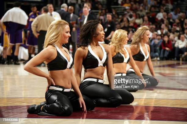 The Cavalier Girls Dance Team performs during the Cleveland Cavaliers game against the Los Angeles Lakers at Quicken Loans Arena on February 11 2007...