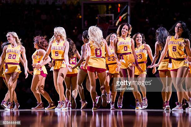 The Cavaliers Girls dance on the court during the second half against the Atlanta Hawks at Quicken Loans Arena on April 11 2016 in Cleveland Ohio The...