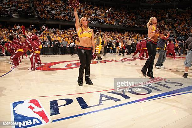 The Cavaliers Girls perform in Game Five of the Eastern Conference Quarterfinals between the Washington Wizards and the Cleveland Cavaliers during...