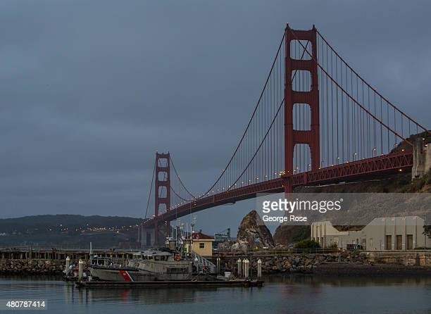 The Cavallo Point Coast Guard Station at the Golden Gate Bridge is viewed before sunrise on June 23 in San Francisco California San Francisco...