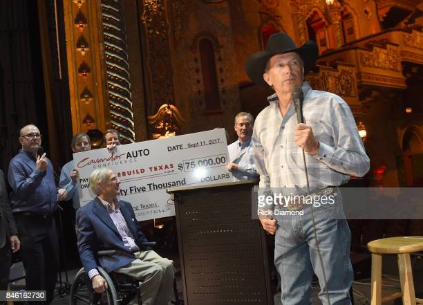 The Cavender Auto Family presents a $75000 Check to Rebuild Texas Relief FundSeated to Founder/CEO of Messina Touring Group Louis Messina Governor of...