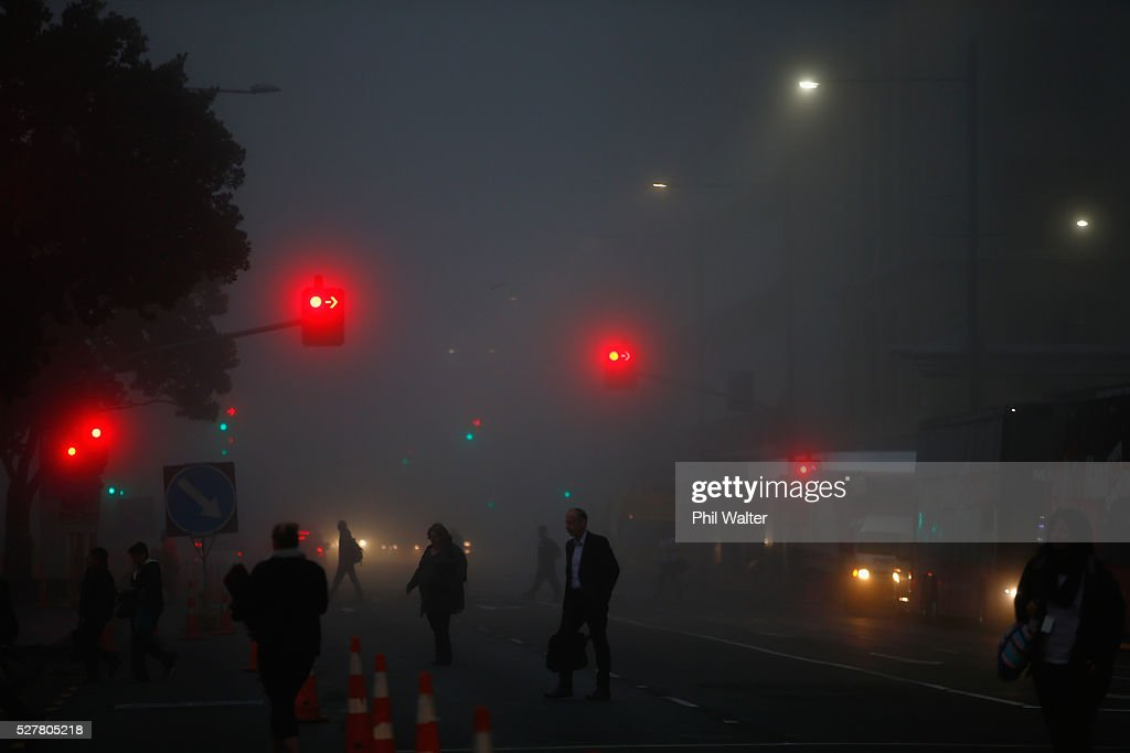 The CBD sits under a blanket of fog over Auckland City on May 4, 2016 in Auckland, New Zealand. The morning fog disrupted flights and ferry services in the city.