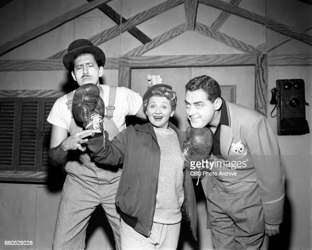 The CBS children's television show Winky Dink and You From left Dayton Allen Mae Questel and Jack Barry October 6 1956 New York NY