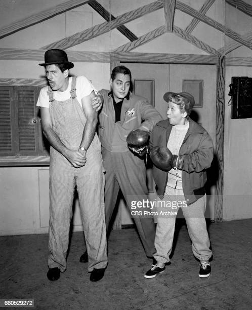 The CBS children's television show Winky Dink and You From left Dayton Allen Jack Barry and Mae Questel October 6 1956 New York NY