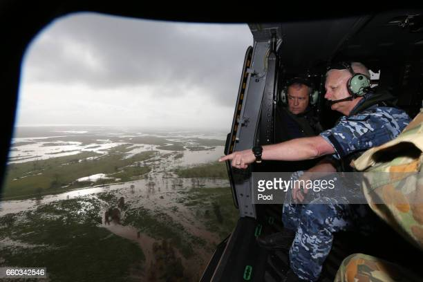 The CDF Air Marshal Mark Binskin and Opposition Leader Bill Shorten visit a cyclone damaged area with Australian PM Malcolm Turnbull March 30 2017 in...
