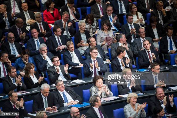 The CDU/CSUfaction of the Bundestag is pictured during the constituent session of the 19th German Parliament on October 24 2017 in Berlin Germany...