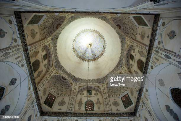 The ceiling above the tomb of Shah Nematollah Vali an Iranian mystic and poet in Mahan Iran