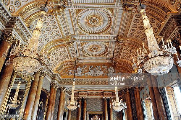 The ceiling in the Blue Drawing Room which will be used for the wedding reception of Prince William and Kate Middleton at Buckingham Palace on March...